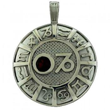 КОЗЕРОГ серебряная подвеска-гороскоп